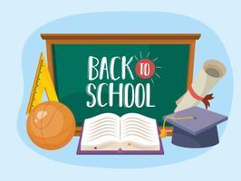 Torna alla lavagna della scuola con elementi scolastici