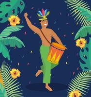 Musicista maschio con tamburo e rami vettore