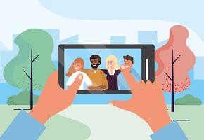 Selfie smartphone di un gruppo di amici nel parco vettore