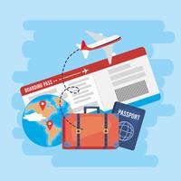 Biglietto aereo con valigia e passaporto