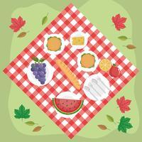 Vista aerea di cibo sulla coperta da picnic vettore