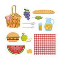 Insieme di elementi e oggetti da picnic vettore