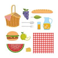 Insieme di elementi e oggetti da picnic