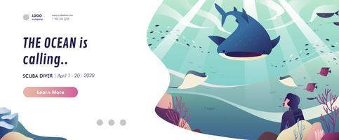 Banner di immersioni subacquee