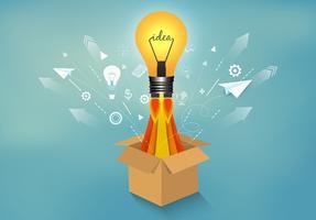 lampadina e icone espulse dalla scatola su sfondo blu