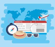 Biglietto aereo con elementi di viaggio