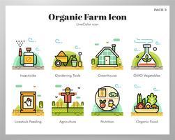 Icone di azienda agricola biologica Pack LineColor vettore
