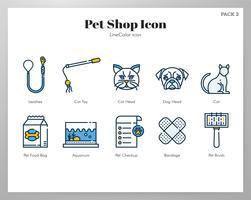 Icona del negozio di animali Pack LineColor