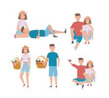 Set di uomini e donne coppia con cibo da picnic vettore