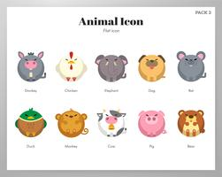 Pacco piatto icona animale