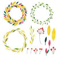 Bella collezione Autumn Wreath dell'acquerello vettore