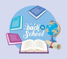 Ritorno a scuola collage con libri e globo vettore