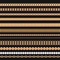 Set di catene d'oro perline e corde su fondo nero. Pennelli senza soluzione di continuità per il design.