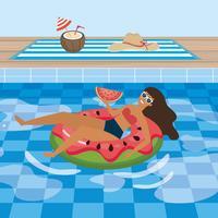 Donna con anguria in piscina galleggiante anguria vettore