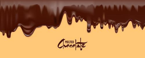 Vettore di cioccolato fuso. Sgocciolatura di cioccolato fondente