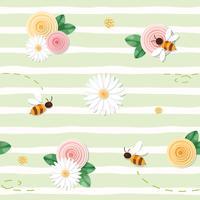 Motivo floreale senza soluzione di continuità estiva. Rose, camomille, api volanti su sfondo verde spogliato.