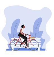 donna stile vintage in sella a una bicicletta vettore