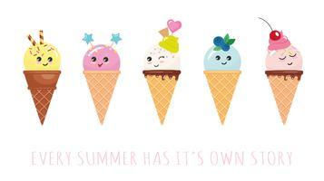 Personaggi di cono gelato kawaii. Cartoni animati carino isolati su bianco.