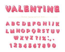 Carattere decorativo rosa lucido. Cartoon ABC lettere e numeri vettore