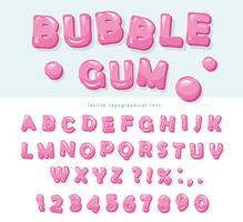 Design del carattere di gomma da masticare. Lettere e numeri dolci ABC. vettore