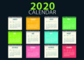 Modello di calendario colorato scuola infantile