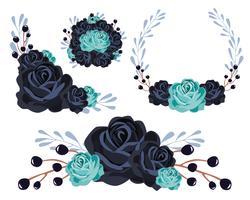 Set di mazzi di fiori blu vettore