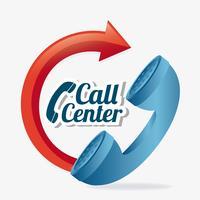 Emblema del servizio clienti Web 2.0 rosso e blu vettore