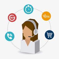 Agente isometrico di supporto del servizio clienti femminile con icone orbitanti