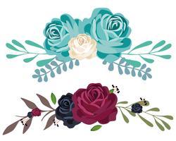 Set di bouquet di fiori vettore