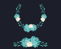 Ghirlanda floreale blu vettore