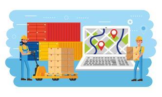 Uomini di consegna con carico e pacchetti con laptop gps vettore