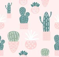 Doodle seamless pattern di cactus