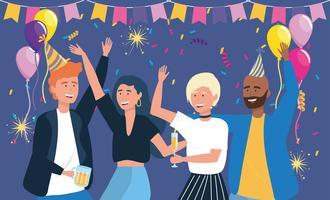 Uomini e donne che ballano alla festa vettore