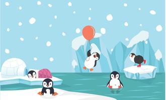 Simpatici personaggi pinguino con sfondo polo nord vettore