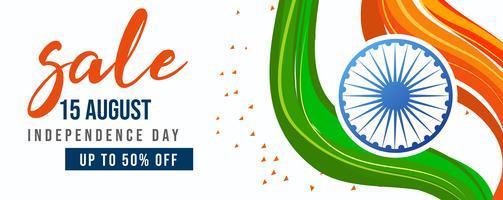 Celebrazione della festa dell'indipendenza, 15 agosto, bandiera indiana vettore