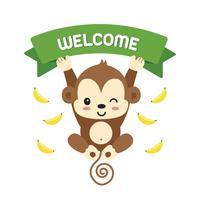 Scimmietta e scritte di benvenuto. vettore