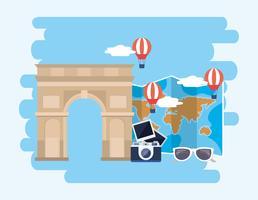 Arc de Triomphe con macchina fotografica e mongolfiere