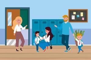 Genitori con bambini a scuola davanti agli armadietti a scuola vettore