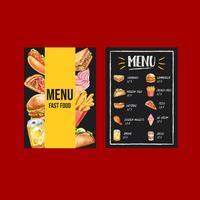 Menu fast food in stile lavagna moderna vettore