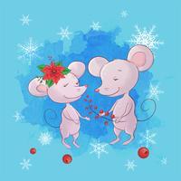Cartolina d'auguri disegnata a mano di Natale delle coppie del topo