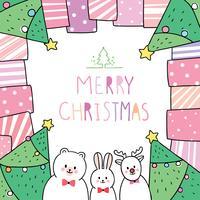 Natale, orso e coniglio e cervo in cornice regalo vettore