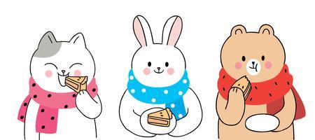 Autunno, gatto e coniglio e orso che mangiano torta
