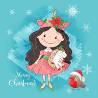 Ragazza carina con Unicorn Merry Christmas Card vettore