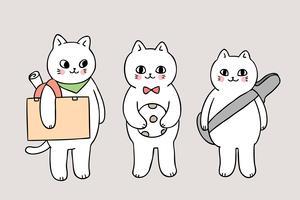 cartone animato carino torna a scuola gatti in possesso di oggetti scolastici vettore