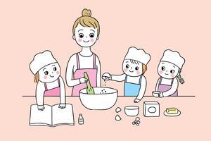 Cartoon carino torna a scuola di cucina vettore