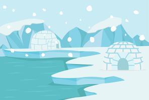 Polo nord paesaggio artico vettore