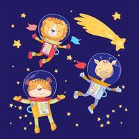 Cartoon simpatici animali tigre leone e giraffa astronauti nello spazio vettore