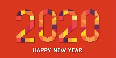 Felice anno nuovo 2020, anno del ratto in carta geometrica tagliata e stile artigianale.