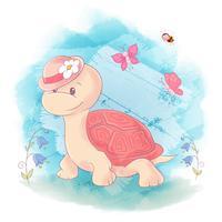 Tartaruga sveglia del fumetto su una priorità bassa blu dell'acquerello vettore