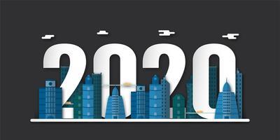 Felice nuovo anno 2020, anno del ratto in carta tagliata e stile artigianale con edifici vettore